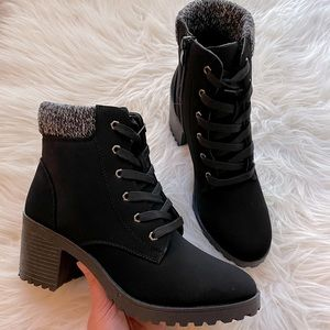 Black Faux Suede Lace Up Booties